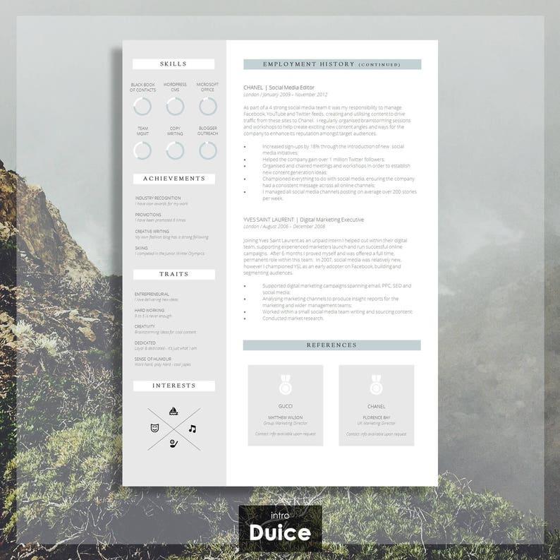 RESUME TEMPLATE CV / Resume Design Cover Letter | Etsy