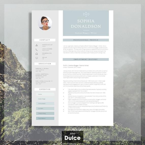 resume template cv resume design cover letter advice etsy