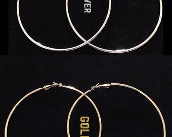 Big hoop earrings, large hoop earrings, silver hoop earrings, gold hoop earrings, 80mm hoop earrings