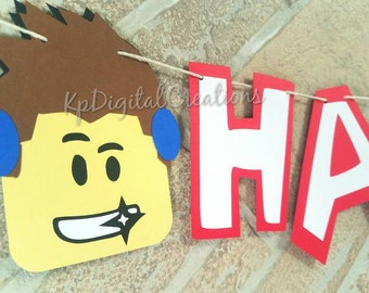 Roblox Birthday Banner Party Supplies Happy Minecraft