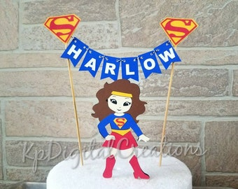 Supergirl Cake Topper Super Girl DC Birthday Superhero Baby Shower