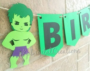 Hulk Birthday banner, Avengers birthday party, hulk birthday party, hulk baby shower, hulk party decor, Superhero birthday, hulk name banner