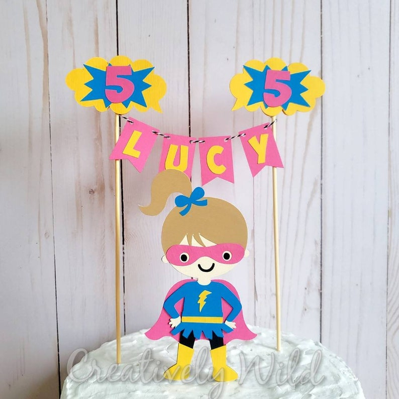 Incredible Girl Superhero Birthday Cake Topper Supergirl Birthday Party Etsy Funny Birthday Cards Online Elaedamsfinfo