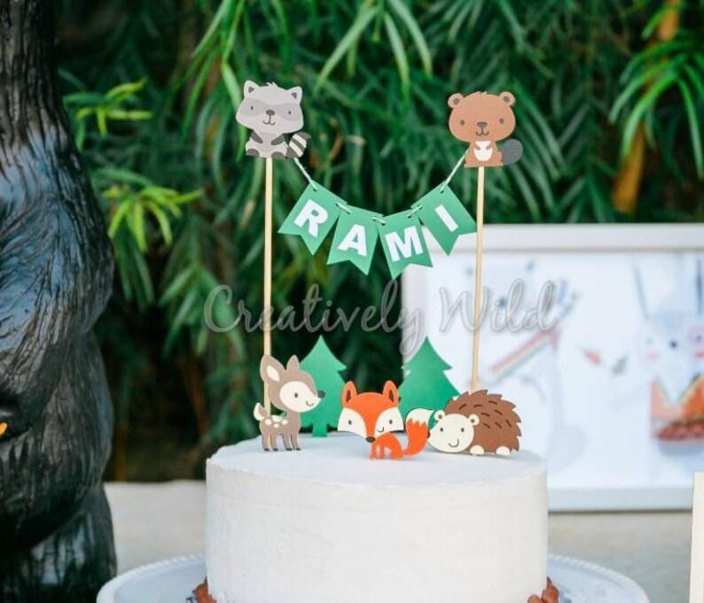 Woodland Cake Topper Woodland Animal Birthday Baby Animals Etsy