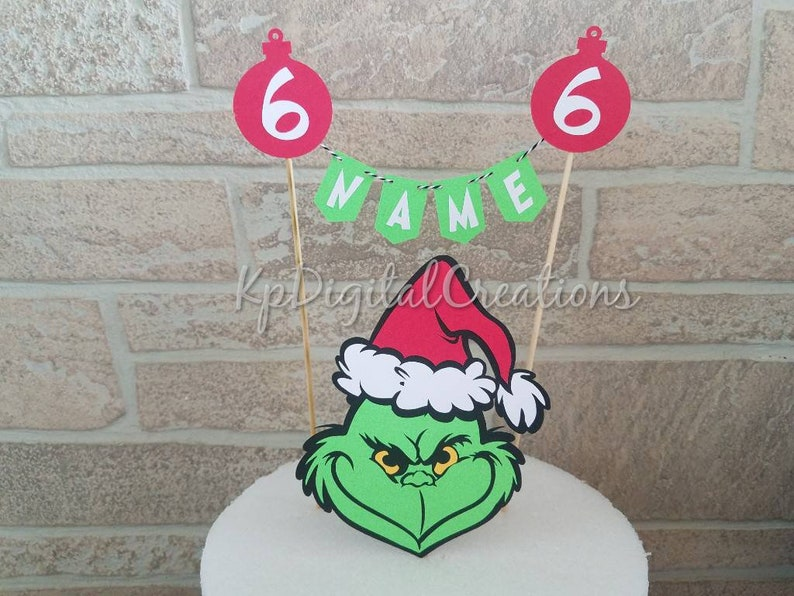 Grinch Cake Topper Birthday Party Christmas