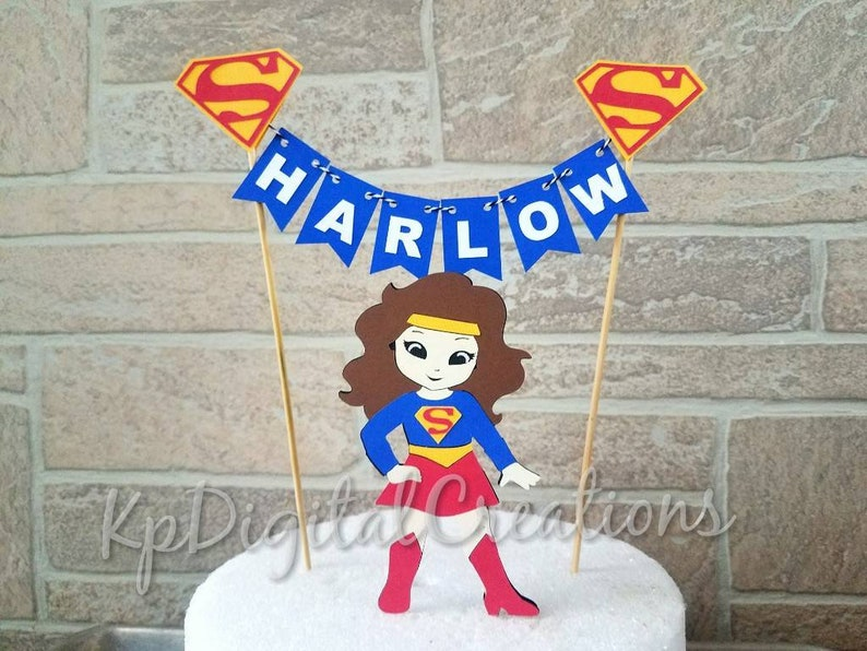 Terrific Supergirl Cake Topper Super Girl Cake Super Girl Cake Etsy Funny Birthday Cards Online Elaedamsfinfo