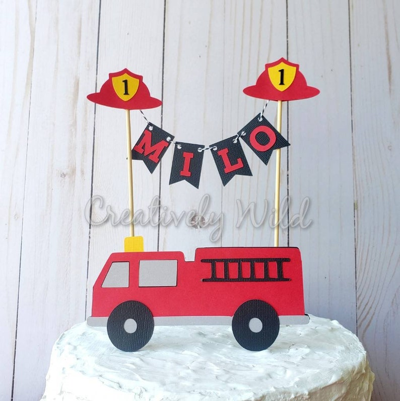 Magnificent Firetruck Cake Topper Firetruck Birthday Party Firefighter Etsy Personalised Birthday Cards Arneslily Jamesorg
