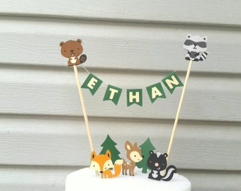 Woodland Cake Topper, Woodland animal Birthday, Baby animals birthday, Woodland Animal baby shower, Enchanted forest, Forest friends, Deer