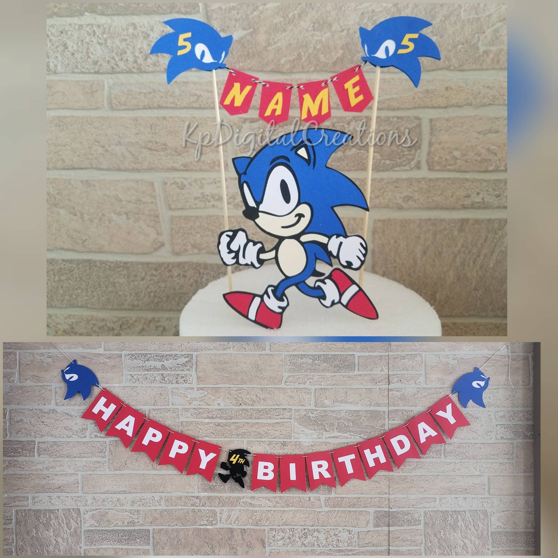 Sonic Hedgehog Birthday Banner Sonic Birthday Party Sonic Etsy