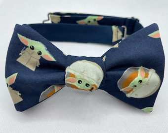 Bow Tie made from Star Wars fabric, Grogu, Navy, Mandalorian, Lightsaber, Jedi, Sith, Vader, Stormtrooper, Wedding, Prom, Dapper On Arrival