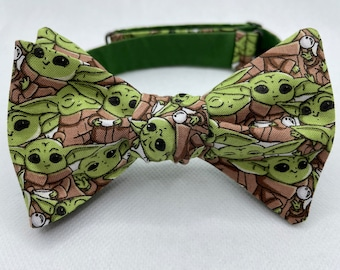 Bow Tie made from Star Wars fabric, Grogu, Lightsaber, Jedi, Yoda, Force, Darth Vader, Sith, Rebel, X Wing, TIE Fighter, Dapper On Arrival