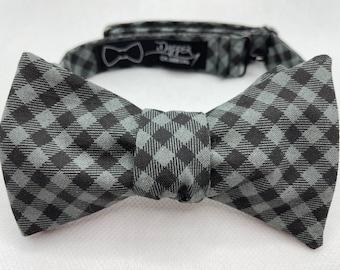 Bow Tie, Black Gray Gingham, Suit and Tie, Self Tie, Pre Tied, Bowtie, Wedding, Groom, Prom, Work, Groomsmen, Dance, Dapper on Arrival