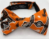 Bow Tie made from Star Wars Fabric, Self Tie, Pre Tied, Bowtie, Vader, Fighter, Death, Star, Force, Wedding, Groom, Prom, Dapper On Arrival