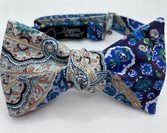 Fancy Floral Bow Tie, Self Tie, Pre Tied, Bowtie, Purple, Teal, Gold, Leaf, Ornate, Suit and Tie, Wedding, Groom, Prom, Dapper On Arrival