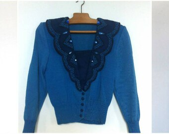 1950's - Western style Blue Cardigan