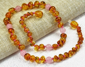 Amber necklace, baby amber necklace, Baby Teething  Necklace. Baltic amber. Necklaces 28 - 45 cm. Natural Rose Quartz