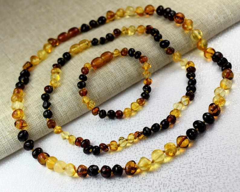 Baby Teething  Necklace amber bracelet Mother and baby amber set baby amber bracelet Amber Natural Stone Baltic amber