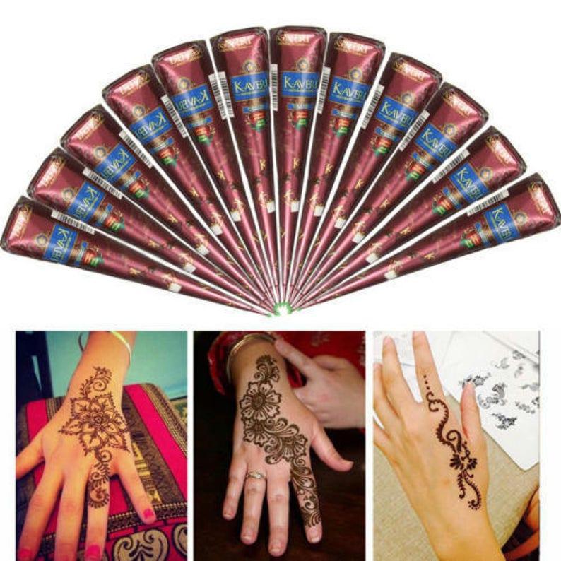 12 Brown Color Henna Cones Henna Kit Natural Henna Paste Self Etsy