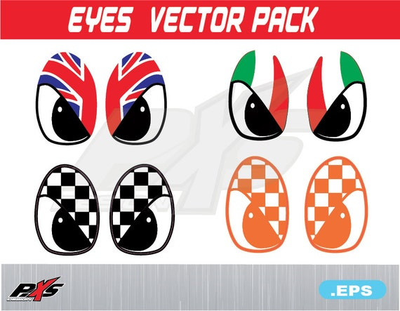 Eyes Flag Racing England Italy Vector Pack Eps For Car Auto Etsy