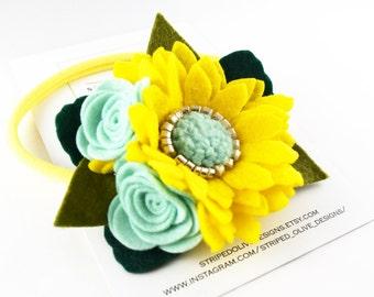 Felt Flower Headband, Flower Girl Headband, Toddler Headband, Spring Headband, Yellow Headband, Aqua Headband, Daisy Headband, Nylon
