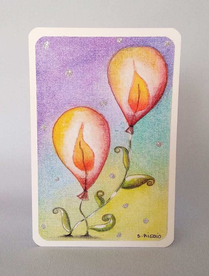 Birthday Card Flower Balloons Light Up For You