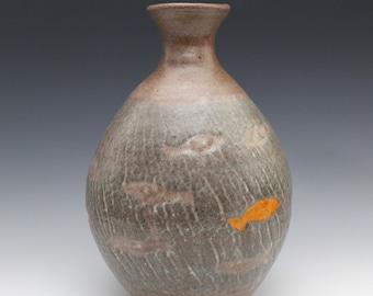 Crackle Vase with Koi Fish September 2020 No.9, Wheel-Thrown