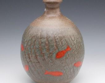 Crackle Vase with Koi Fish September 2020 No.5, Wheel-Thrown
