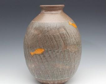 Crackle Vase with Koi Fish September 2020 No.10, Wheel-Thrown