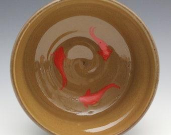 Koi Fish bowl with slip September 2020 No.25, Wheel-Thrown