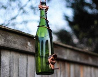 Bird Feeder Handmade From Green Wine Bottle with Copper Trim Outdoor Garden Patio Decor Wine Gift