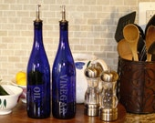 Olive Oil Vinegar Dispenser Made From 25 oz Cobalt Blue Wine Bottle With Stainless Steel Pour Spout and Laser Engraved