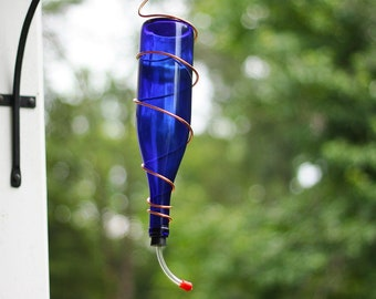 Hummingbird Feeder With Copper Accent made From Cobalt Blue Wine Bottle 25 oz Capacity Outdoor Garden Patio Decor Unique Gift