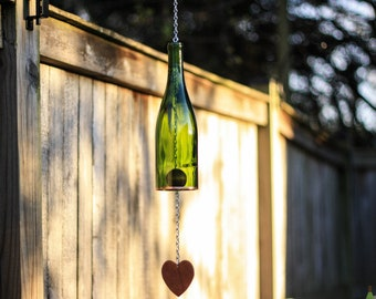 Glass Wind Chime Made From Green Wine Bottle With Copper Trim and Acrylic Heart Unique Farmhouse Garden Patio Decor Wine Lover Gift