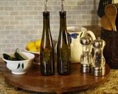 Vintage Green Wine Bottle Oil and Vinegar Set - Kitchen Decor - Wine Bottle Decor - Laser Engraved - Olive Oil Bottle - Gift for Mom - Cruet