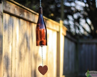 Glass Wind Chime Made From Amber Wine Bottle Outdoor Garden Patio Decor Unique Wind Chimes Gift