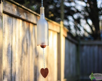 Glass Bottle Wind Chime Handcrafted From Frosted Wine Bottle With Copper Trim Memorial Gift Outdoor Garden Patio Decor