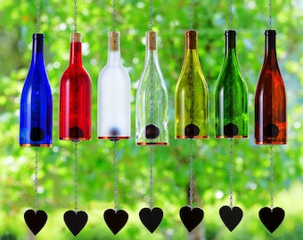 Wind Chimes Made From Glass Wine Bottles with Copper Trim Outdoor Garden Patio Decor Unique Wine Gift Home Decor