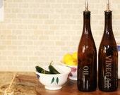 Olive Oil Dispenser Vinegar Bottle made from 25 oz Amber Wine Bottle Laser Engraved High Quality Unique Gift