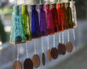 Glass Wind Chimes Made From Pyramid Shaped Bottles Hand Cut and Made Assorted Colors Outdoor Garden Patio Decor Unique