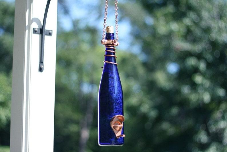 Bird Feeder Made With Cobalt Blue Wine Bottle and Copper Trim image 4