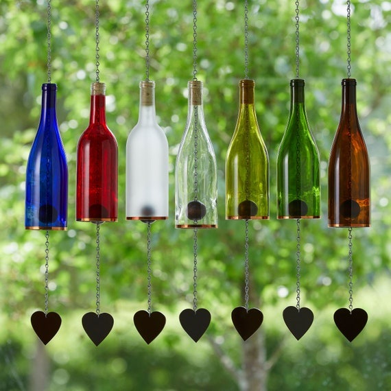 Gift for Mom Three Glass Wine Bottle Wind Chimes Blue Frosted Red