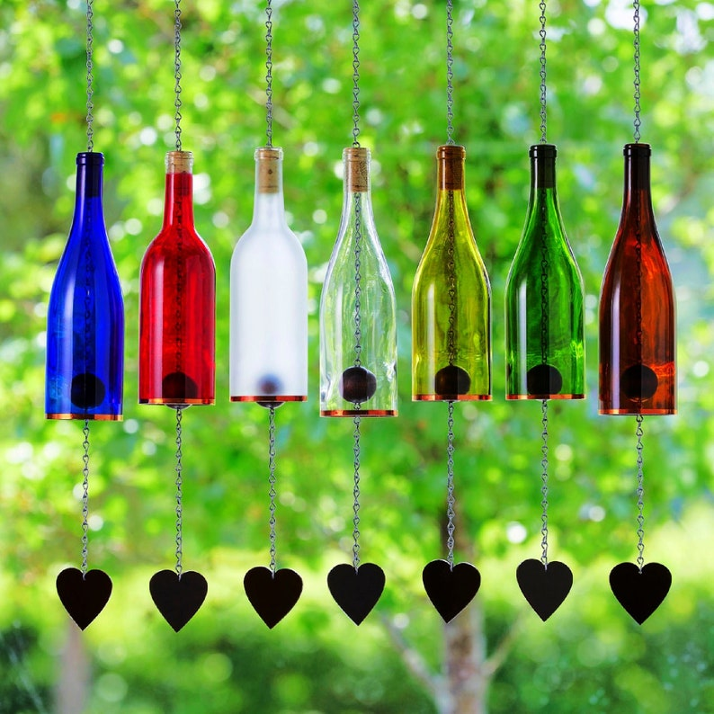 Wind Chimes Made From Glass Wine Bottles with Copper Trim image 1