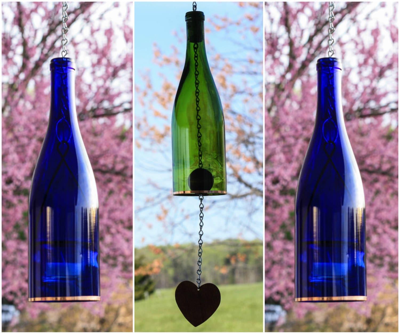 Blue Wine Bottle Wind Chime Green Lantern Set Glass Hanging Votive