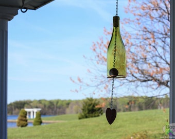 Yellow Wine Bottle Wind Chimes - Garden Gift- Outdoor Decor - Wine Bottle Chime - WindChime - Gift for Mom - Wine Decor - Gift for Women