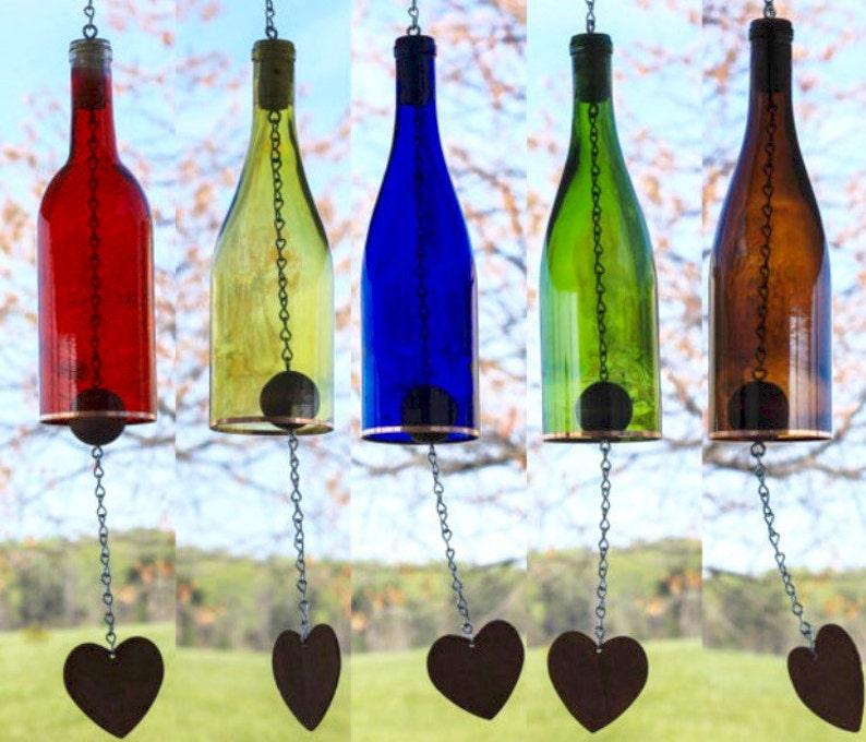 Image result for glass bottle windchime
