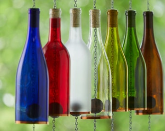 Fathers Day Wind Chimes made from Wine Bottles Great Outdoor, Patio, or Garden Gift