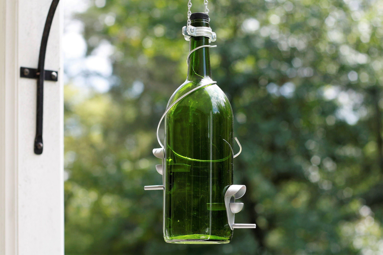 Garden Gift Handmade Wine Bottle Decor Patio Outdoor Blue and Copper Wine Bottle Bird Feeder Gift for Mom Gift for Women Decor