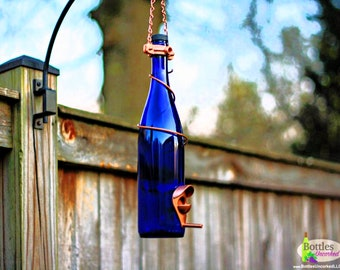 Bird Feeder Made With Cobalt Blue Wine Bottle and Copper Trim Hang Great for Outdoor Garden Patio Decor or For Wine Lover Unique