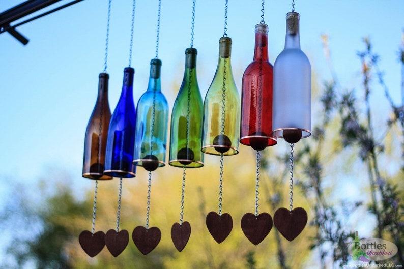 Glass Wine Bottle Wind Chimes Garden Gift Mom Teacher Etsy