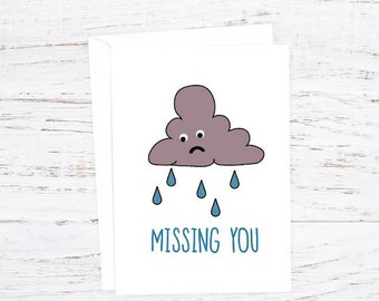 Missing You - Greetings Card - A6 - Miss You - Sad